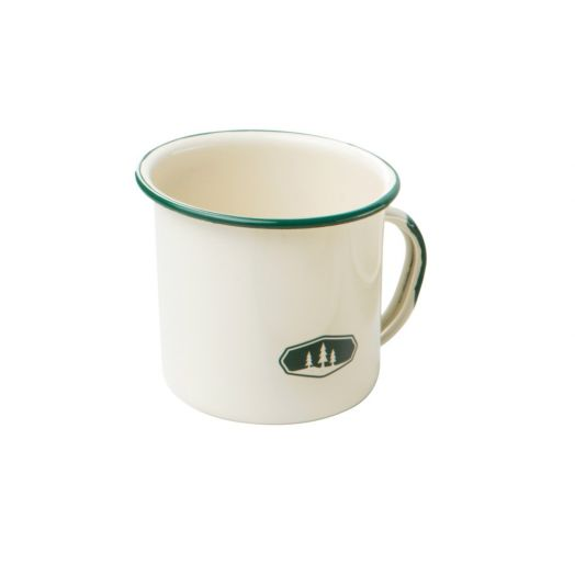 GSI Outdoors Deluxe Cream 12 oz enamelware cup with trees icon in green