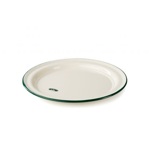 GSI Outdoors Deluxe cream enamelware plate with green rim and GSI tree icon
