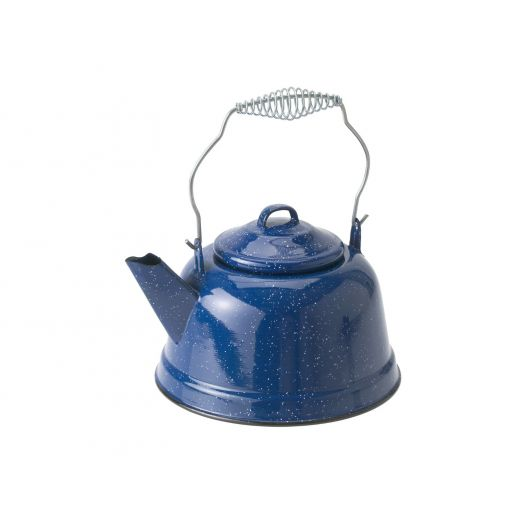 GSI Outdoors 10 Cup Classic Enamelware tea kettle with metal wired handle and lid, blue with a speckled finish