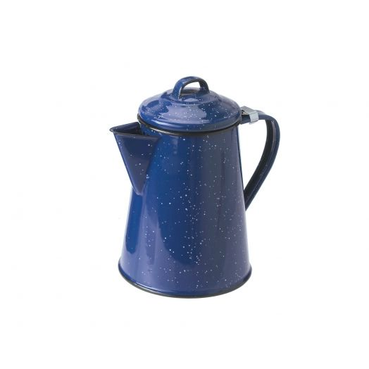 GSI Outdoors Classic Enamelware Coffee Pot Boiler with handle and spout, blue with white speckled finish