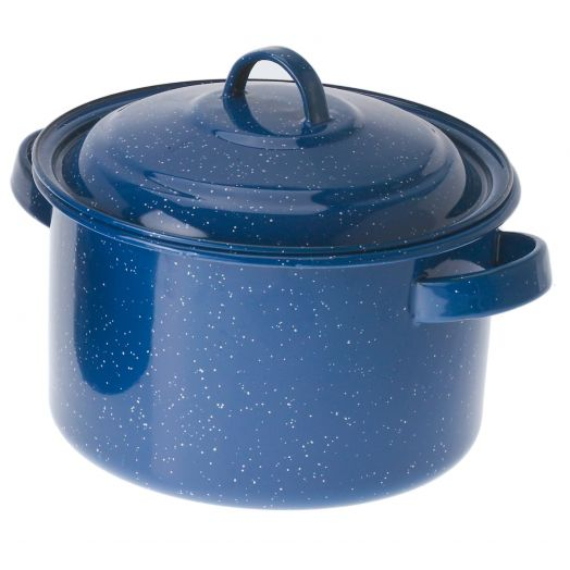 GSI Outdoors Classic Speckled Enameled Steel 5.75 qt. Stock Pot with lid Blue