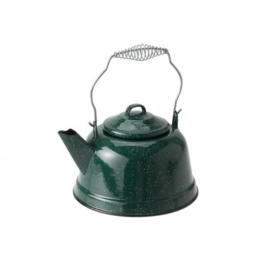 GSI Outdoors 10 Cup Classic Enamelware tea kettle with metal wired handle and lid, green with a speckled finish