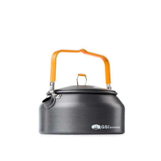 The GSI Outdoors lightweight Halulite Tea Kettle for backpacking