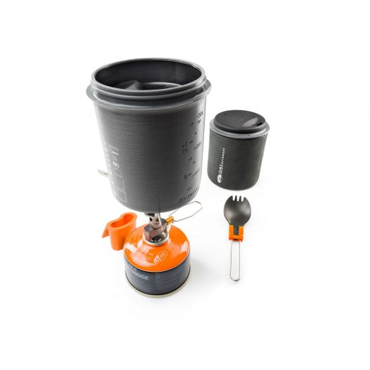 Halulite Minimalist II, Cookset for One is designed dual pot and mug with insulating sleeve and folding foon