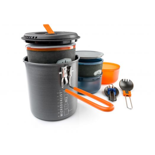 GSI Outdoors Halulite MicroDualist II, Two-person Cookset with bowls, insulated mugs, and foons