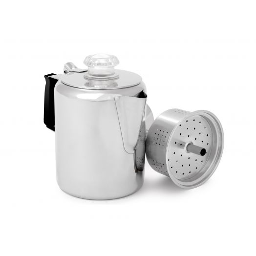 GSI Outdoors Glacier Stainless Coffee Percolator with Silicone Handle, stainless steel