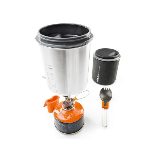 Glacier Stainless Minimalist II, backcountry stainless steel all in one cook set for one with cooking pot and mug combo